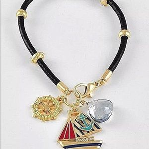 Ship Anchor leather bracelet Nautical